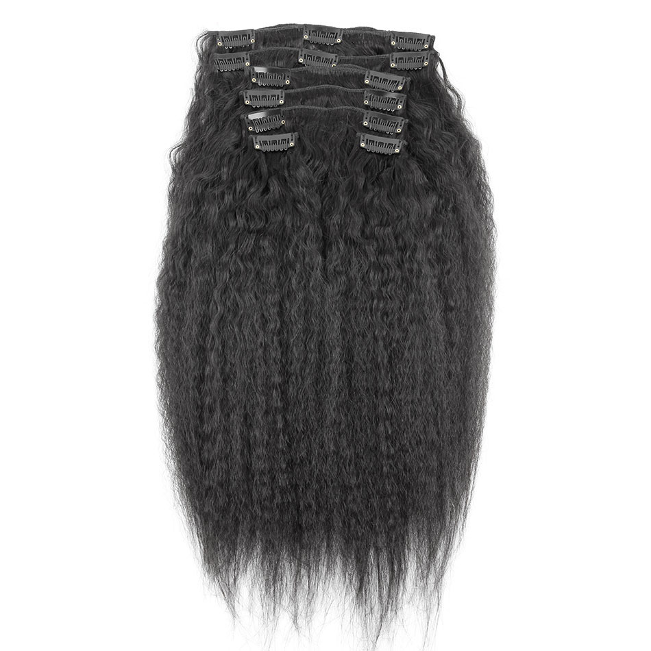10 - 32 Inch Brazilian Virgin Kinky Straight Clip In Hair Extensions #1B Natural Black 2