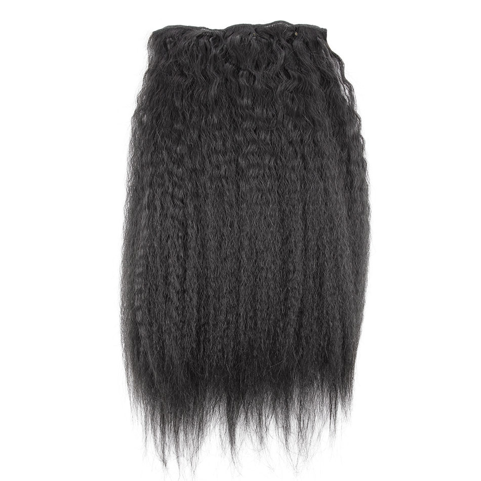 10 - 32 Inch Brazilian Virgin Kinky Straight Clip In Hair Extensions #1B Natural Black 3