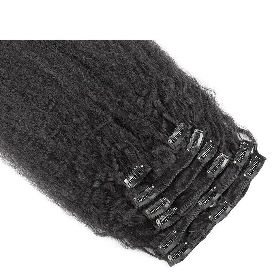 10 - 32 Inch Brazilian Virgin Kinky Straight Clip In Hair Extensions #1B Natural Black 4