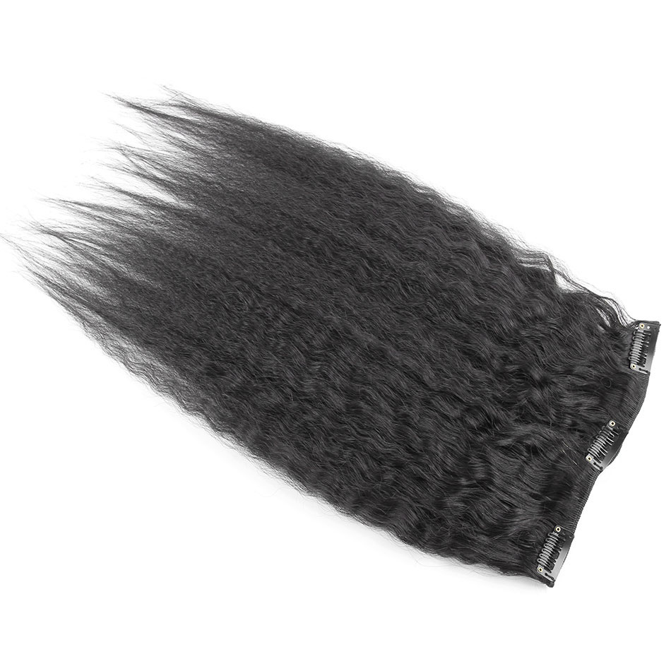 10 - 32 Inch Brazilian Virgin Kinky Straight Clip In Hair Extensions #1B Natural Black 5