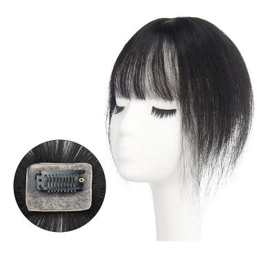 """10"""" Hair Toppers with Bangs Human Hair Extension Clip in Top Crown Hairpieces for Thinning Hair"""