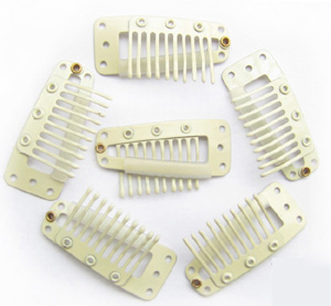 10 Teeth Beige Steel Hair Extension Clips 20pcs