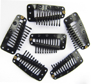 10 Teeth Black Steel Hair Extension Clips 20pcs