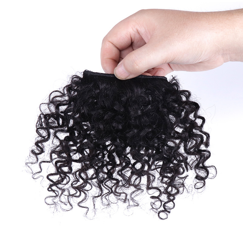 8 Inch 100% Human Hair Bangs Clip in Afro Kinky Curly Fringe Hair Piece Hair Extensions 1