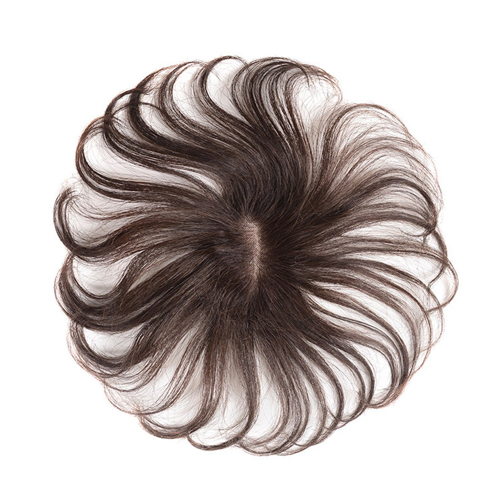 100% Human Hair Toupee Crown Wiglet HairPiece  Net Breathable Light And Thin Curly Hair Topper For Loss Hair Cover White Hair 5*8cm 0