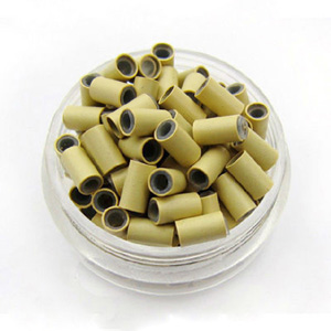 1000pcs Beige Copper Silicone Beads for Hair Extensions