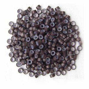 1000pcs Brown Aluminium Silicone Beads for Hair Extensions