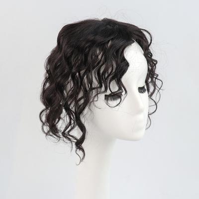 """11"""" Curly Clip in Human Hair Topper with Curtain Bangs Silk Base Crown Top Hairpieces"""