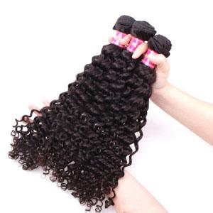 "12"" - 34"" Brazilian Virgin Hair Curly #1B Natural Black 1pc/3pcs"