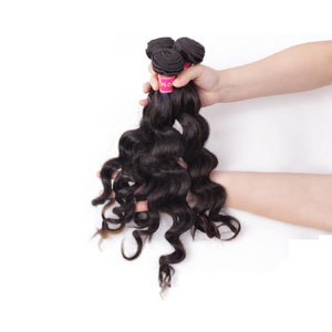 "12"" - 34"" Brazilian Virgin Hair Loose Wavy #1B Natural Black 1pc/3pcs"