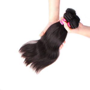 "12"" - 34"" Brazilian Virgin Hair Straight #1B Natural Black 1pc/4pcs"