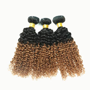 "12"" - 34"" Ombre Brazilian Remy Hair Extensions Curly Two Tone #1b and #27 Wefts for 1pc Sets or 3pcs Sets"