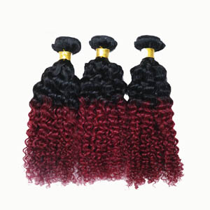 """12"""" - 34"""" Ombre Brazilian Remy Hair Extensions Curly Two Tone #1B and #34"""