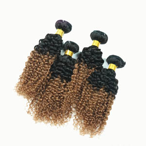 """12"""" - 34"""" Two Tone Ombre Brazilian Remy Hair Extensions Curly Wefts for 1pc Set or 4pcs Set"""