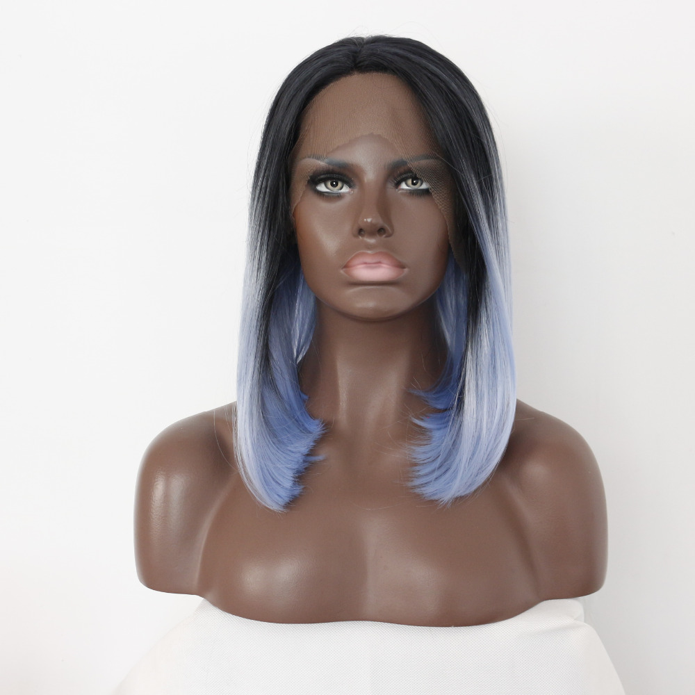 12 Inch Bob Ombre Blue Synthetic Lace Front Wigs