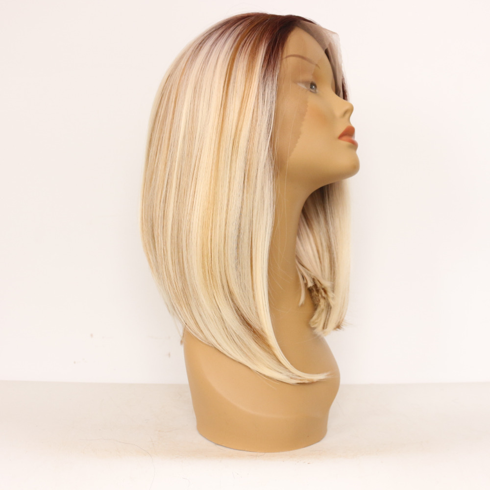 12 Inch Brown To Blonde Ombre Straight Bob Synthetic Lace Front Wig