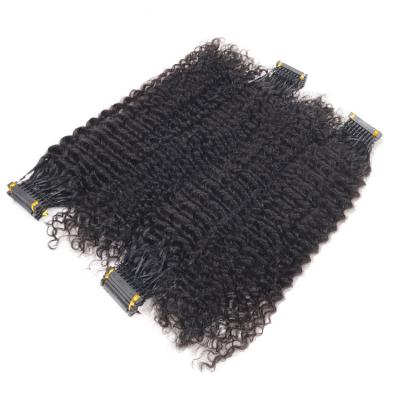 14 - 30 Inch 6D Hair Extensions Kinky Curly Human Hair 10 Rows 10 Strands/Row