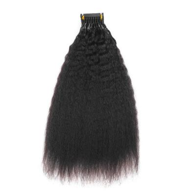 14 - 30 Inch 6D Human Hair Extensions Kinky Straight 10 Rows 10 Strands/Row