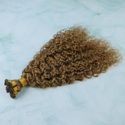 14 - 30 Inch Hand Tied Hair Extensions Curly Human Hair Wefts 6 Bundles/Pack
