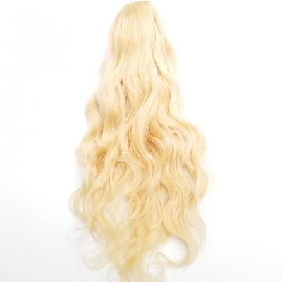 14 - 32 Inch Body Wave Claw Ponytail Extension Human Hair #613 Bleach Blonde