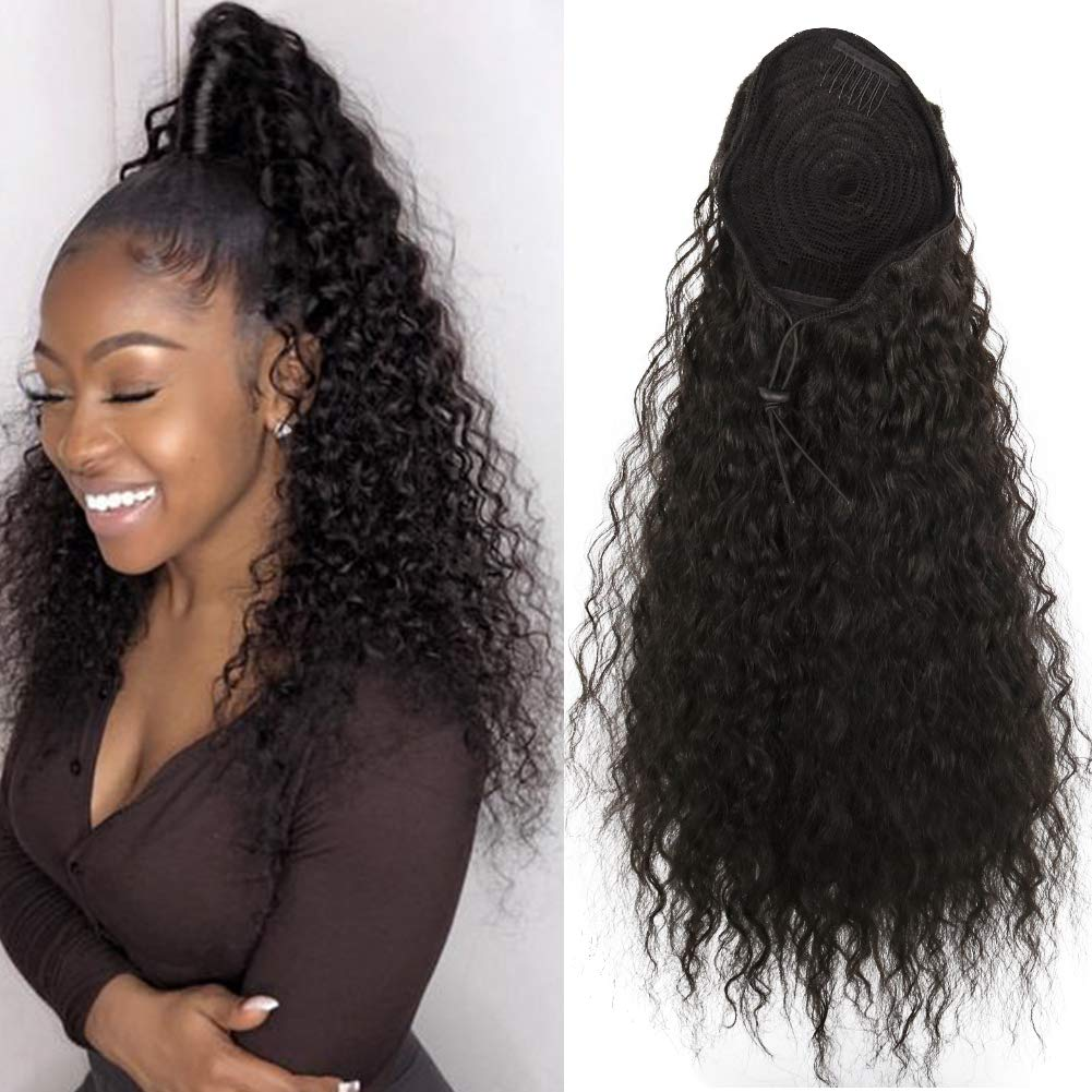 14  - 32 Inch Curly Human Hair Ponytail  Drawstring Ponytail Extensions #1B Natural Black 0