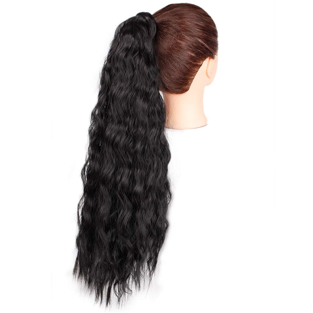 14  - 32 Inch Curly Human Hair Ponytail  Wrap Around Ponytail Extensions #1B Natural Black 5