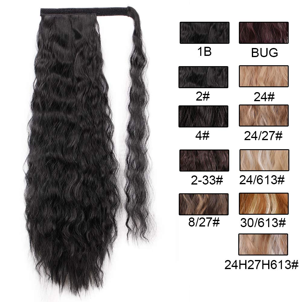 14  - 32 Inch Curly Human Hair Ponytail  Wrap Around Ponytail Extensions #1B Natural Black 6
