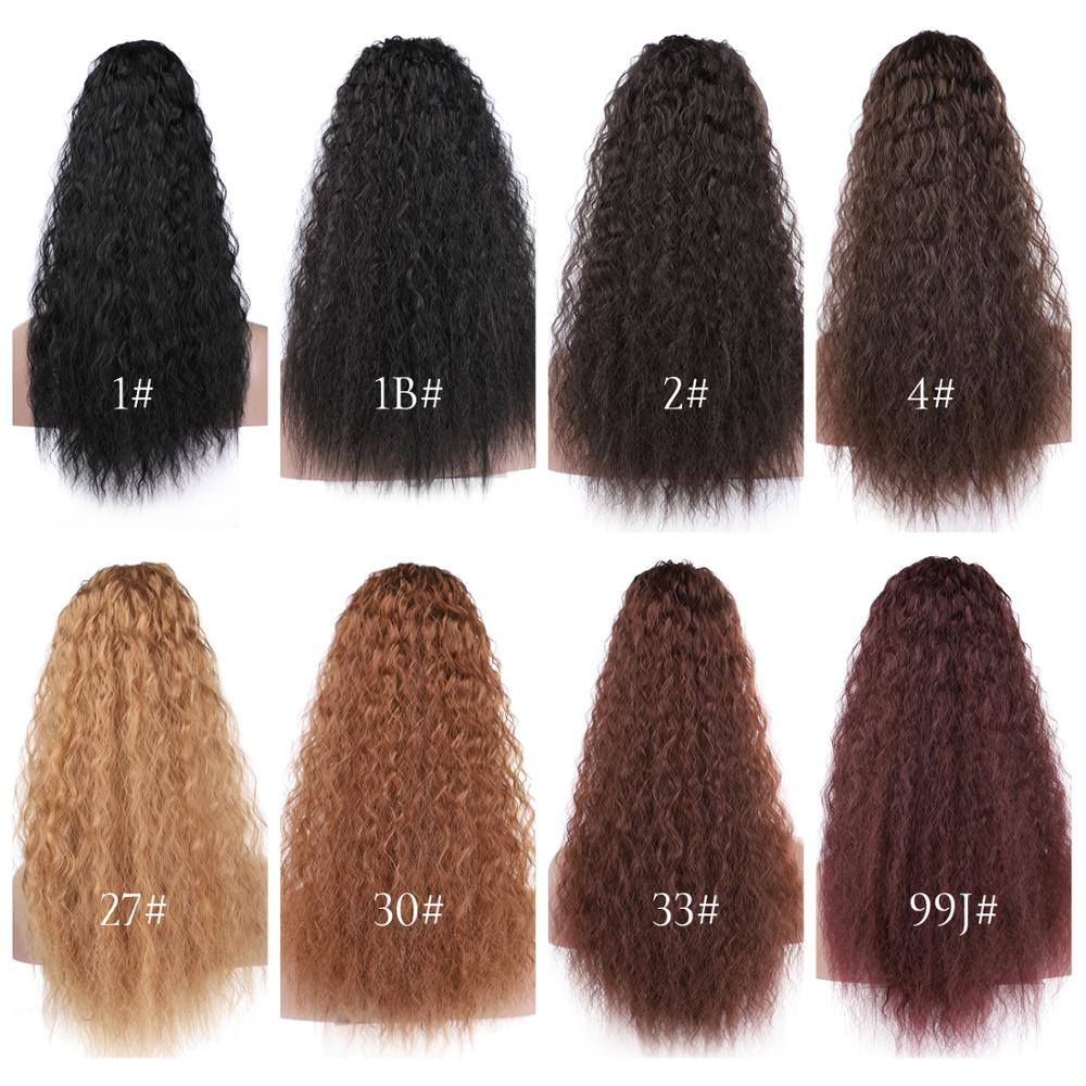 14  - 32 Inch Curly Human Hair Ponytail  Wrap Around Ponytail Extensions #1B Natural Black 7