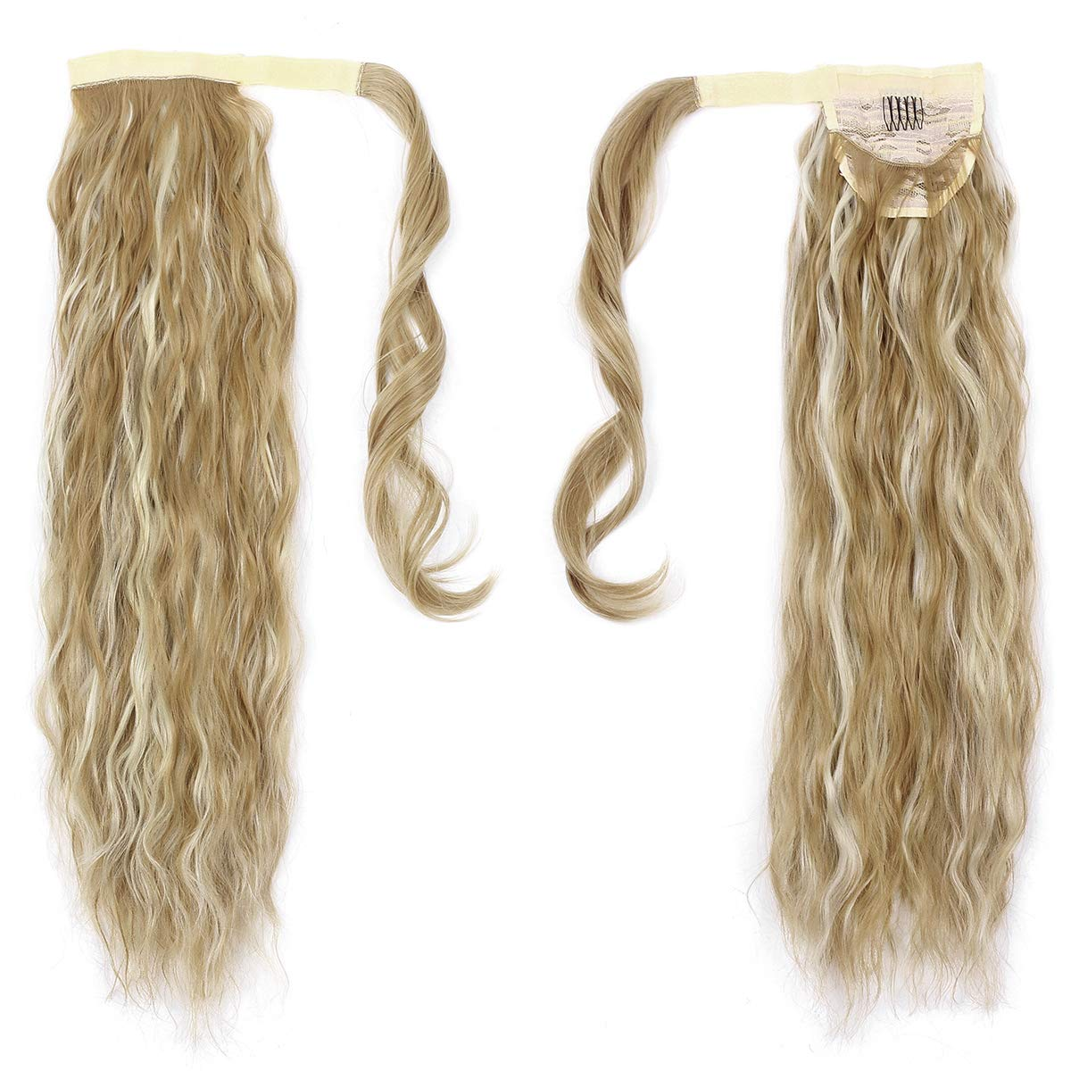 14  -32 Inch Curly Ponytail Human Hair Wrap Around Extensions #27/613 1