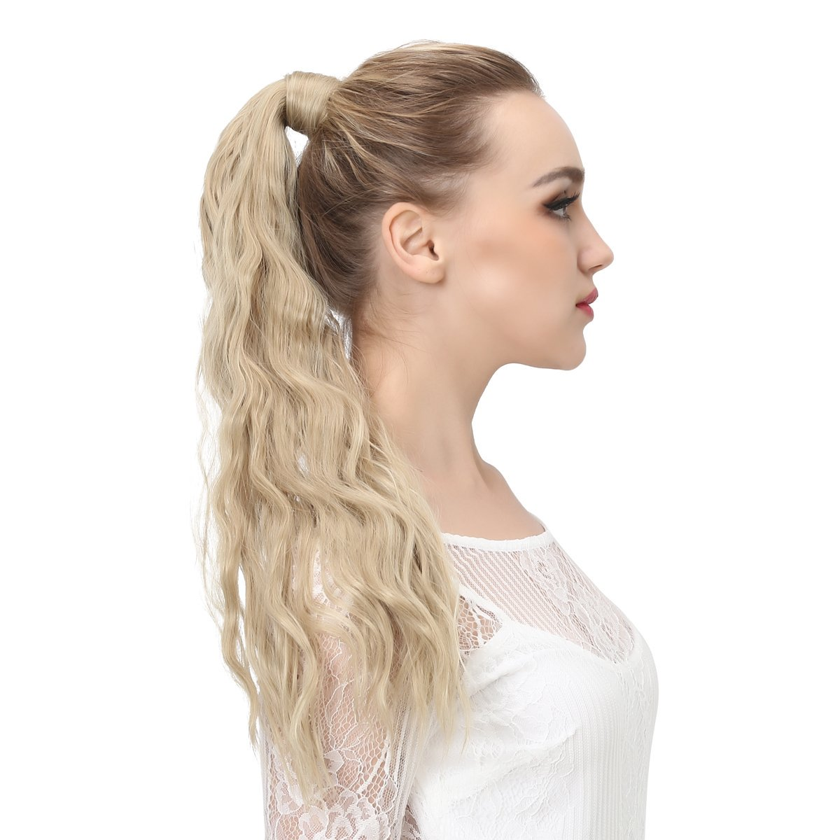 14  -32 Inch Curly Ponytail Human Hair Wrap Around Extensions #27/613 3