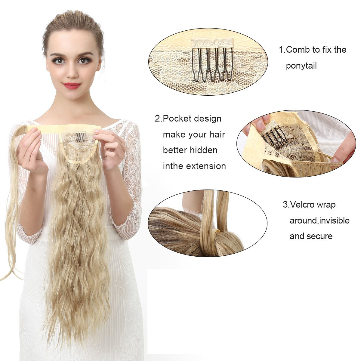 14  -32 Inch Curly Ponytail Human Hair Wrap Around Extensions #27/613 4