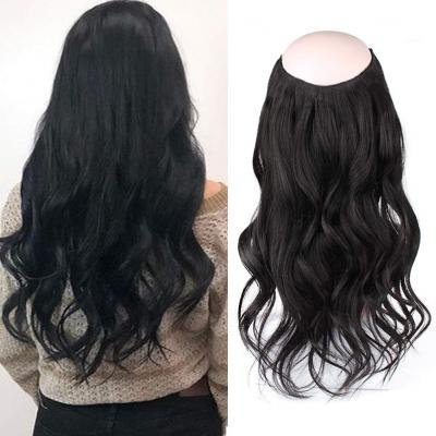 14 - 32 Inch Halo Hair Extensions #1 Jet Black Body Wave/Straight