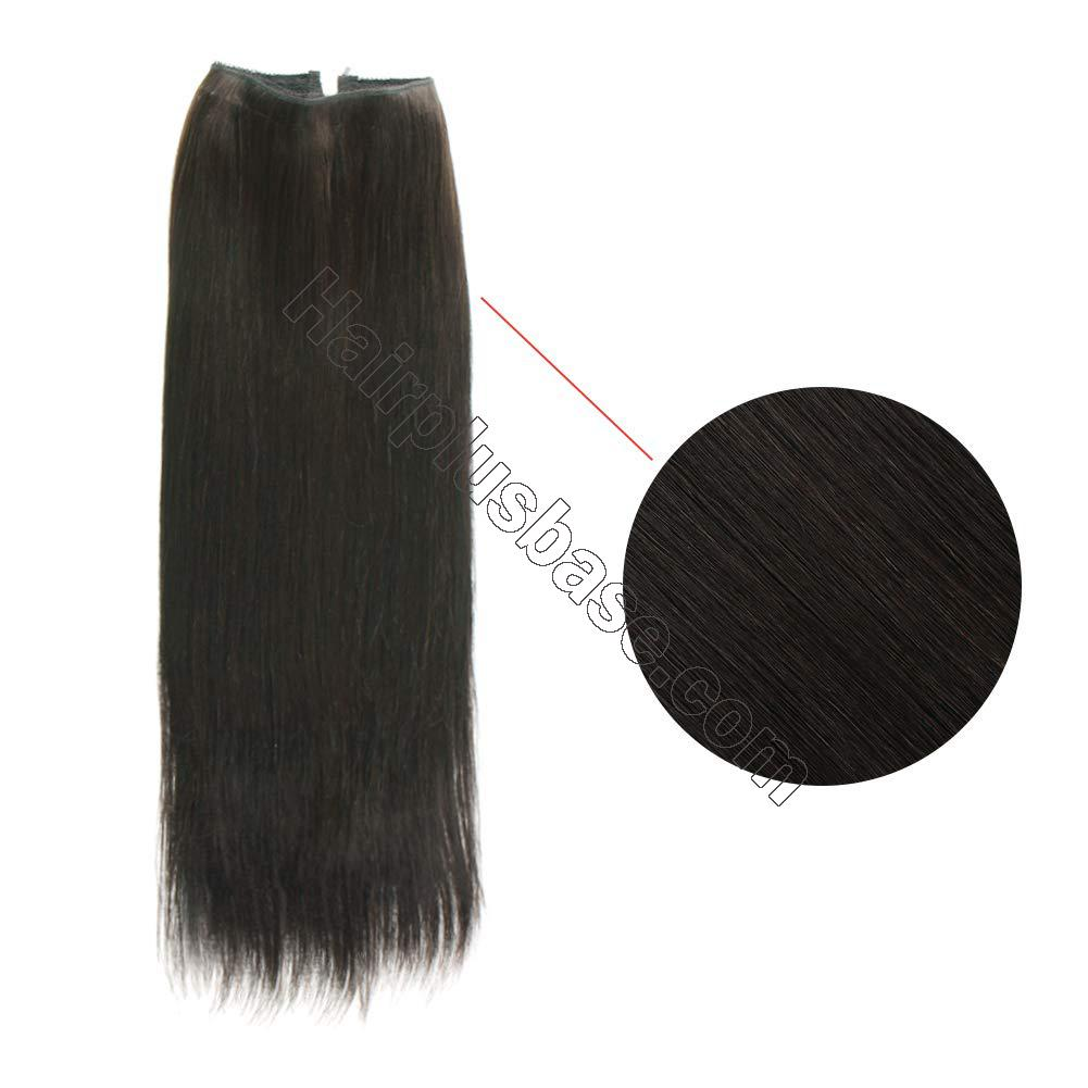 14 - 32 Inch Halo Hair Extensions #1B Natural Black Body Wave/Straight 2
