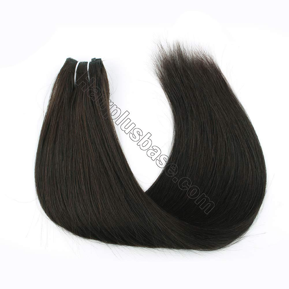 14 - 32 Inch Halo Hair Extensions #1B Natural Black Body Wave/Straight 3