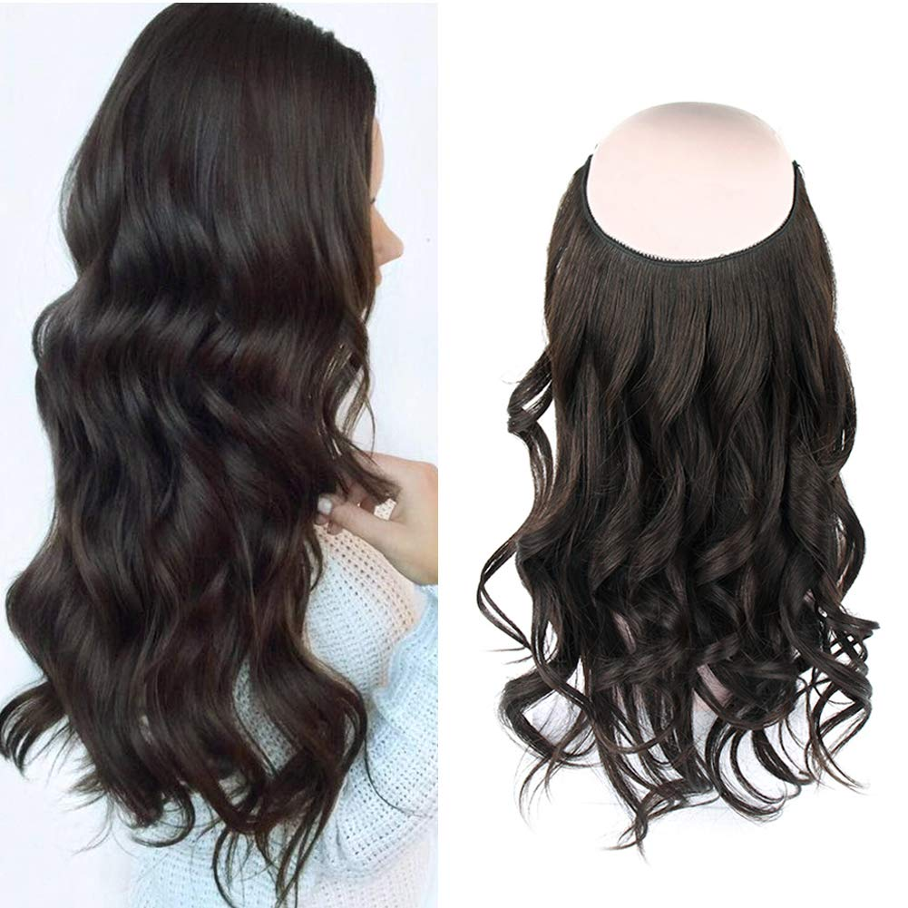 14 - 32 Inch Halo Hair Extensions #1B Natural Black Body Wave/Straight 9