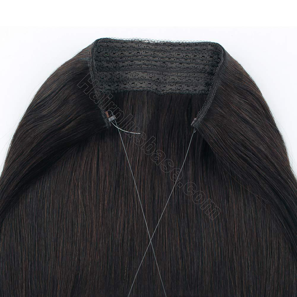 14 - 32 Inch Halo Hair Extensions #2 Black Brown Body Wave/Straight 6