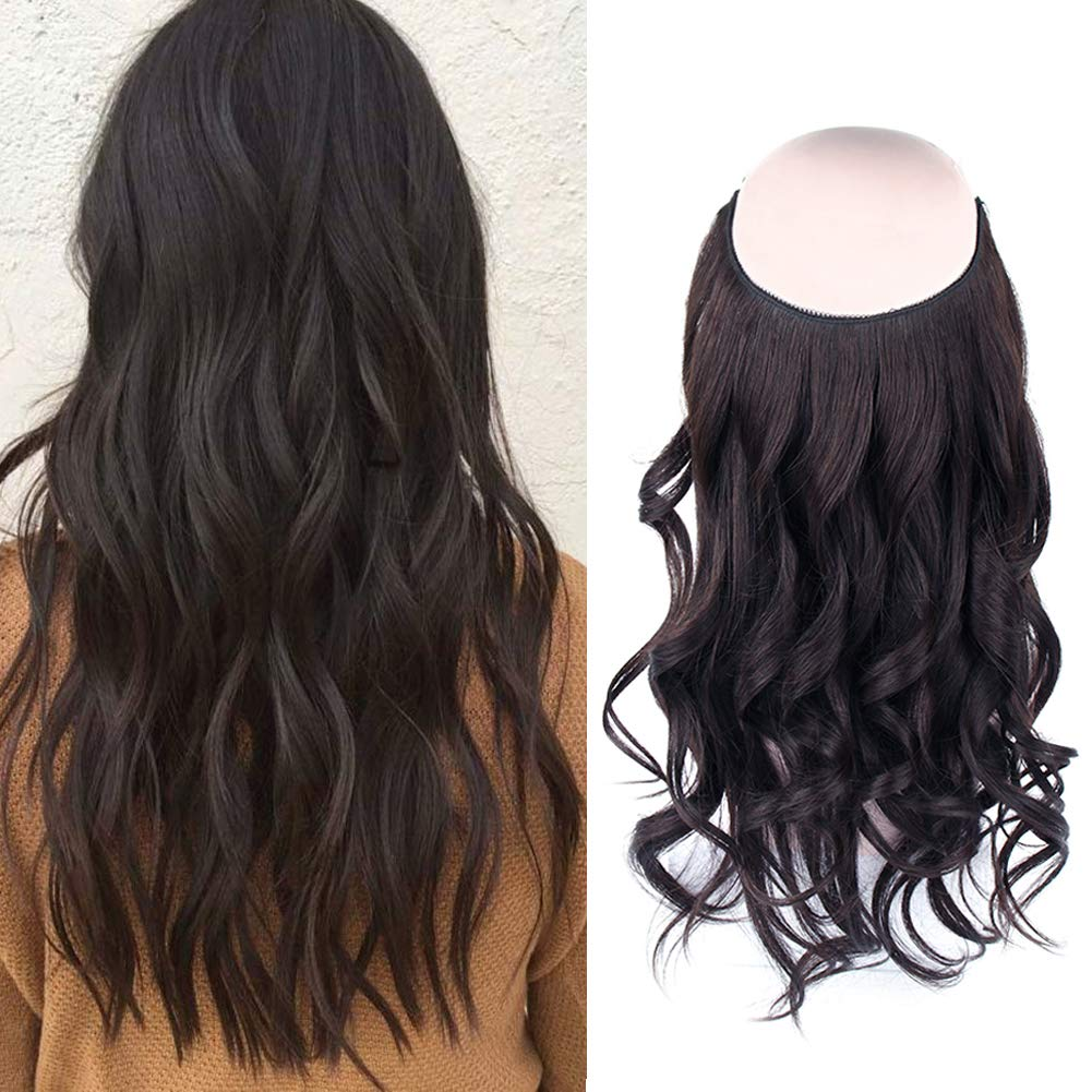 14 - 32 Inch Halo Hair Extensions #2 Black Brown Body Wave/Straight 9