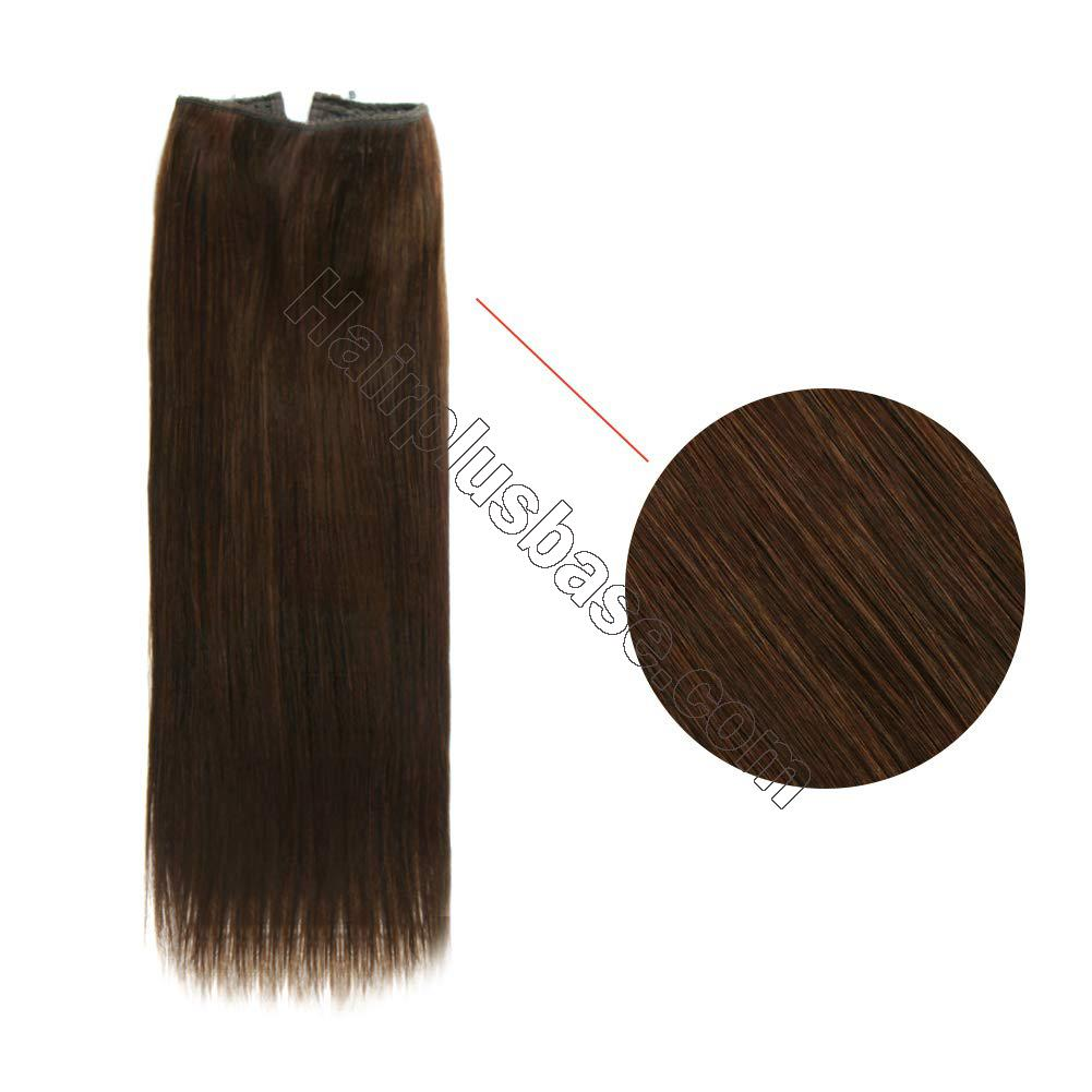 14 - 32 Inch Halo Hair Extensions #4 Medium Brown Body Wave/Straight 2