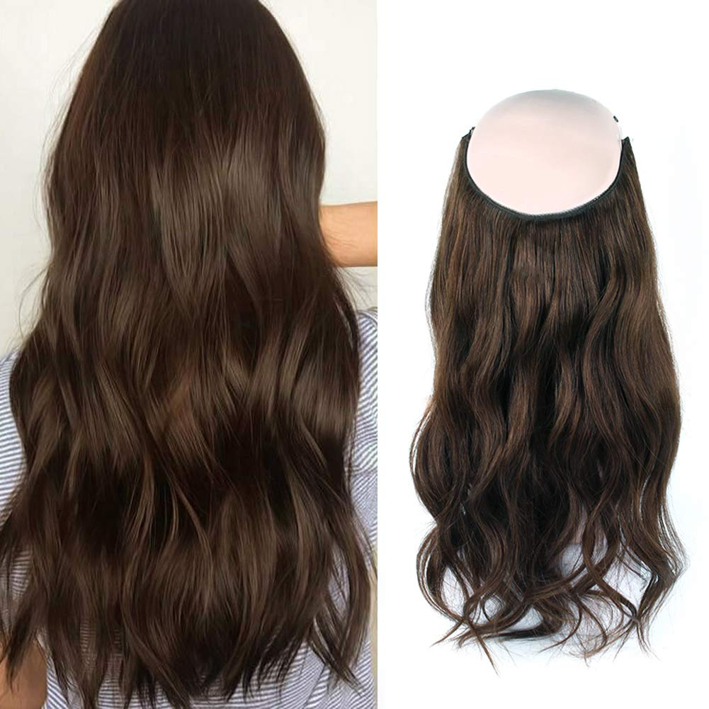 14 - 32 Inch Halo Hair Extensions #4 Medium Brown Body Wave/Straight 8