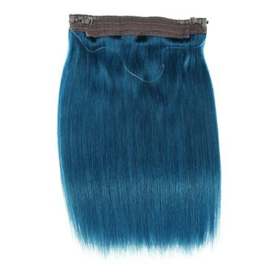 14 - 32 Inch Halo Human Hair Extensions Blue Straight