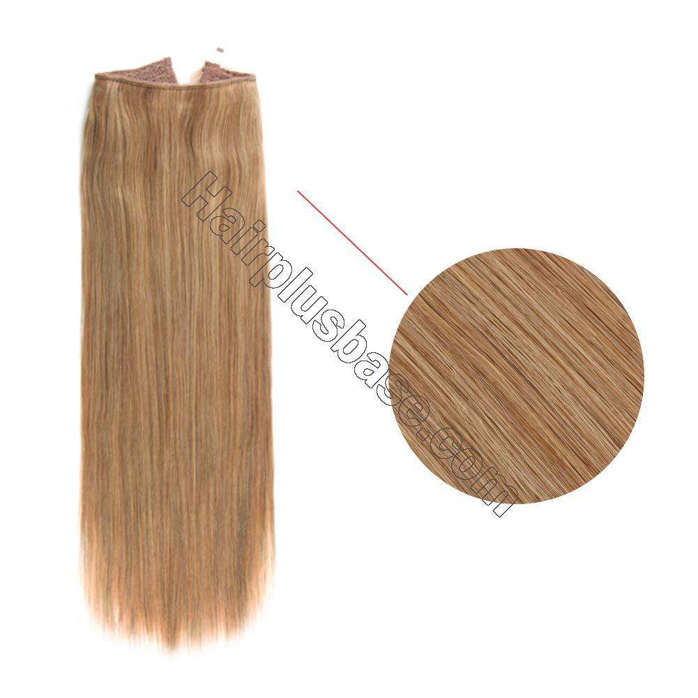 14 - 32 Inch Human Hair Halo Extensions #27 Body Wave/Straight 3