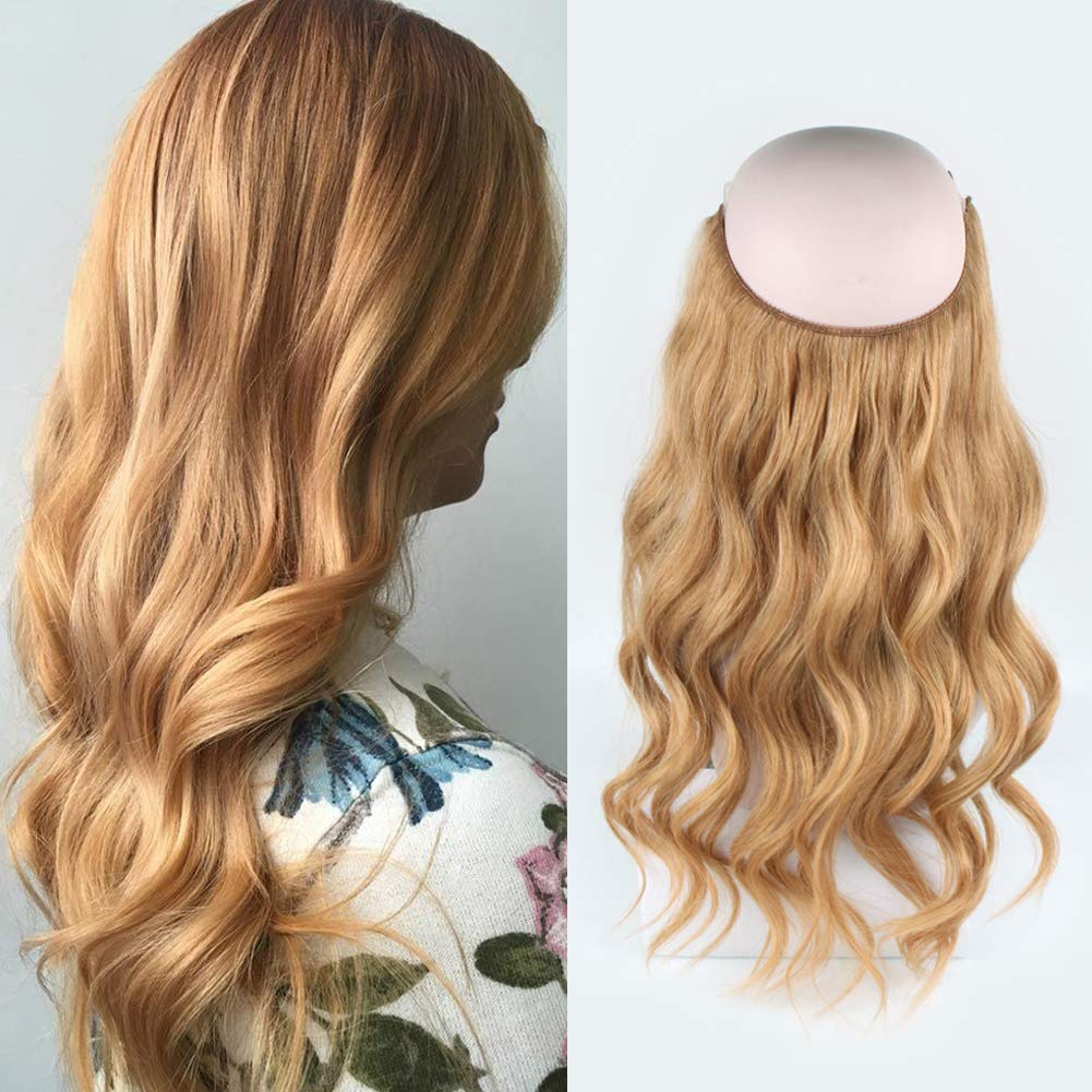 14 - 32 Inch Human Hair Halo Extensions #27 Body Wave/Straight 9
