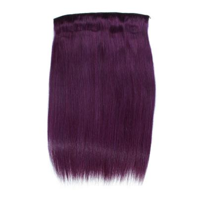 14 - 32 Inch Human Hair Halo Extensions Purple Straight