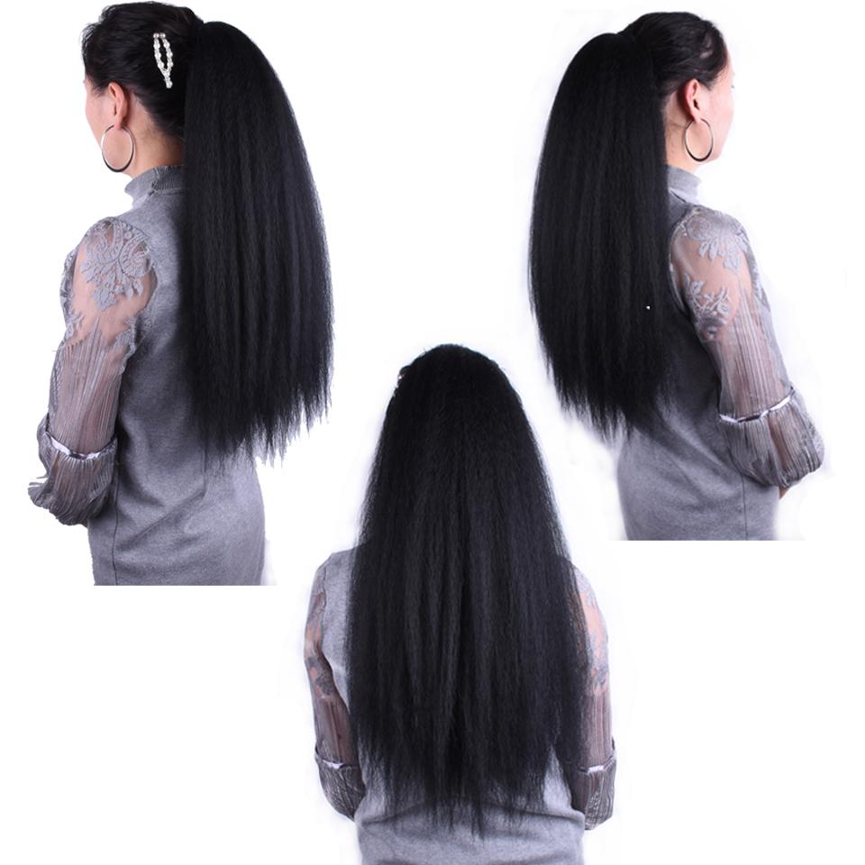 14  - 32 Inch Kinky Straight Human Hair Ponytail  Drawstring Ponytail Extensions #1B Natural Black 1