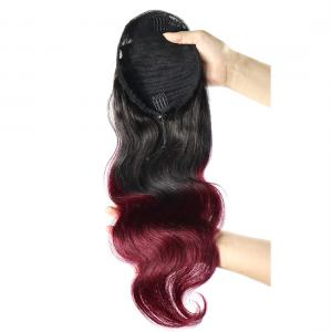 14 - 32 Inch Ombre Body Wave Human Hair Ponytail Drawstring Clip Ponytail Extensions #1B/Light 99J