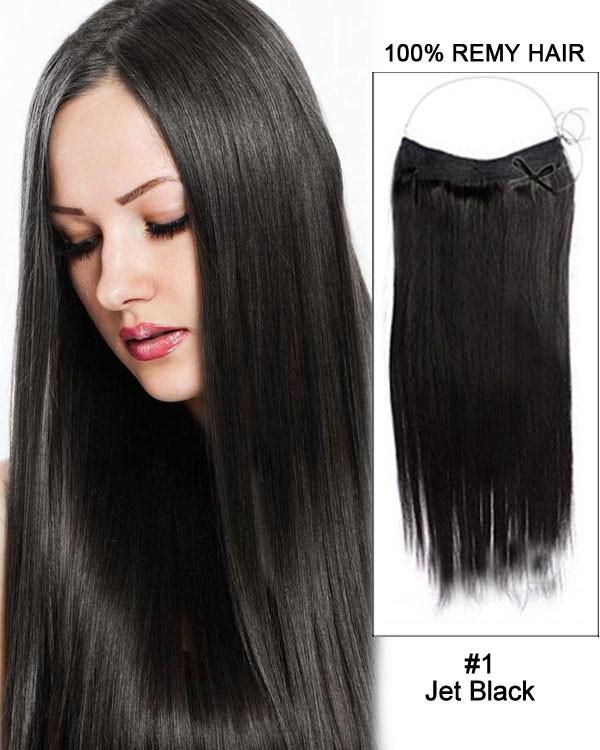 14 - 32 Inch Straight Secret Human Hair Extensions #1 Jet Black