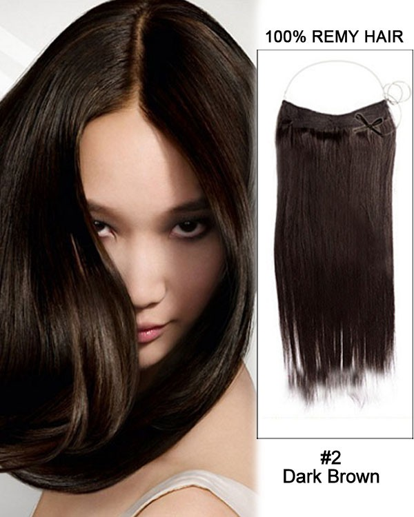 14 - 32 Inch Straight Secret Human Hair Extensions #2 Dark Brown