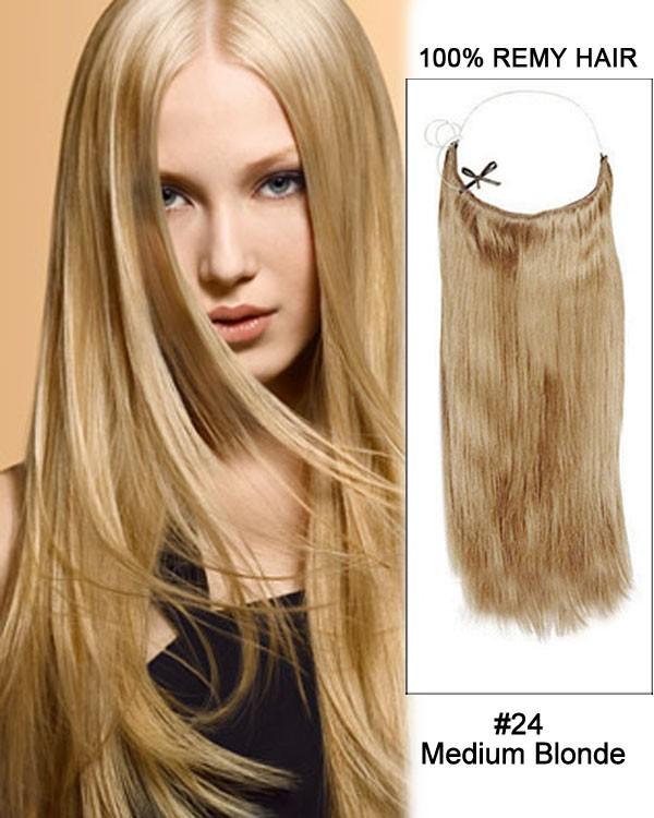 14 - 32 Inch Straight Secret Human Hair Extensions #24 Medium Blonde