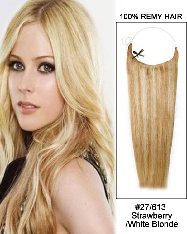14 - 32 Inch Straight Secret Human Hair Extensions #27/613 Strawberry White Blonde