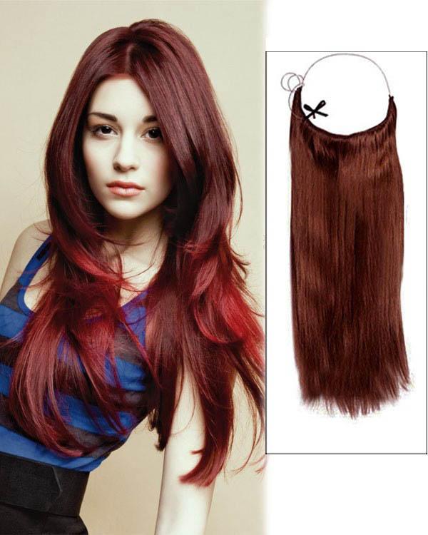 14 - 32 Inch Straight  Secret Human Hair Extensions #33 Dark Auburn